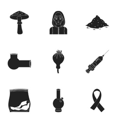 Drugs set icons in black style Big collection of vector