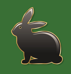easter bunny dark gray bunny in a golden frame vector image