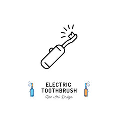 Electric toothbrush line icon dental care oral vector