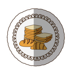 Emblem various types of bread icon vector