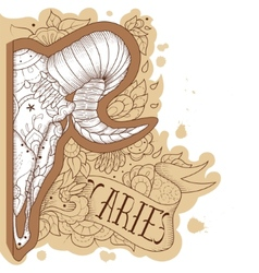 Engraving aries vector