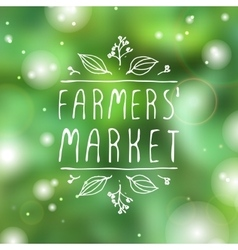 Farmers market - product label on blurred vector