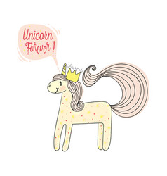 Fashion patch print type forever unicorn vector