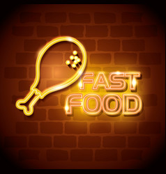 fast food chicken neon label vector image