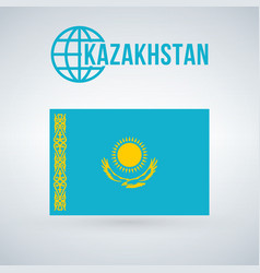 flag of kazakhstan isolated on modern background vector image