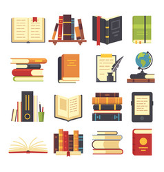 Flat books icons magazines with bookmark history vector
