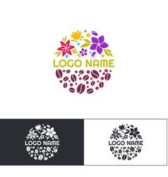 Flowers coffee logo three vector