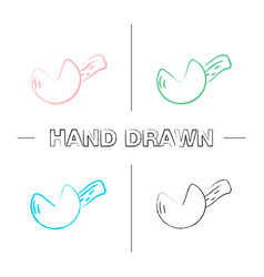Fortune cookie hand drawn icons set vector