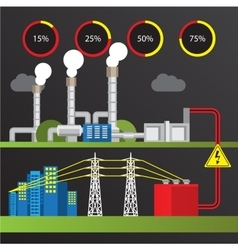 Geothermal power station Trendy infographics set vector image
