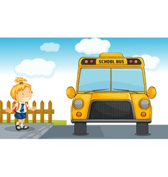 girl and school bus vector image