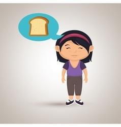 girl cartoon bread slice vector image