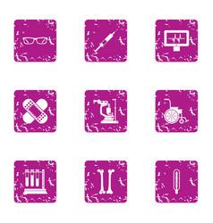 Graduate degree icons set grunge style vector