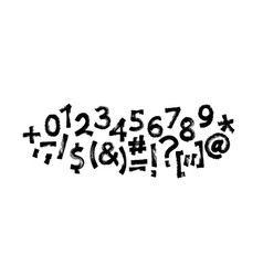 graffiti font written with a marker digits and vector image