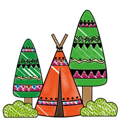 Grated ethnic camp with trees and bushes plant vector