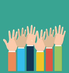 group human hands raised multiracial vector image