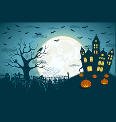 Halloween scary cemetery picture vector