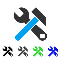 Hammer and wrench flat icon vector