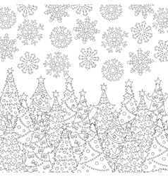 Hand drawn snowflakes christmas tree vector