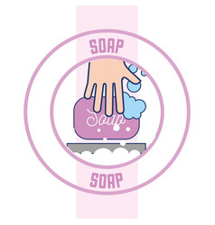 hand with soap bubbles clean badge bathroom vector image