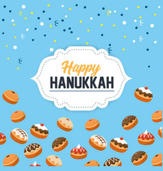 Happy hanukkah celebration with sweet breads vector