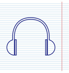 headphones sign navy line vector image