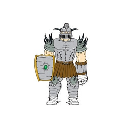 Horned knight full armor shield cartoon vector