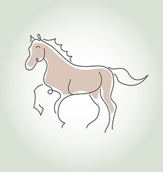 Horse minimal line style vector image