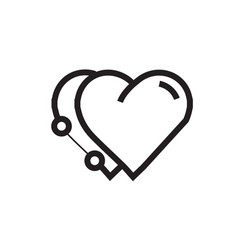 Icon twins heart pen tool style vector