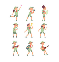 kids in scout costumes young scouts boys and vector image