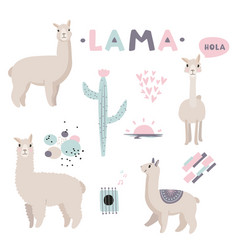 Lama collection with cute vector