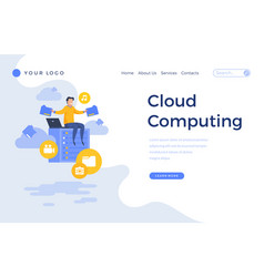 landing page template cloud computing concept vector image