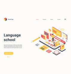 Language school technology isometric landing page vector
