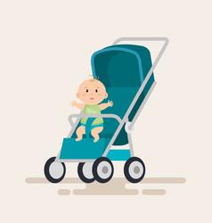 Little baby in cart character vector