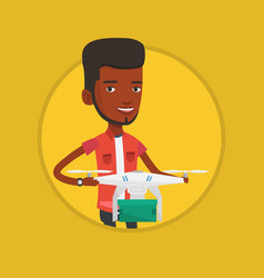 man controlling delivery drone with post package vector image