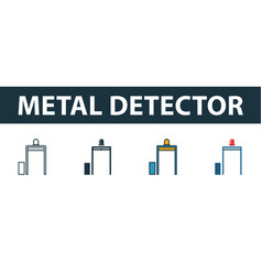 metal detector icon set premium symbol in vector image
