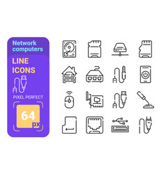 network computers accessories line icons set vector image