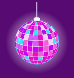 night club disco ball purple mirrorball vector image