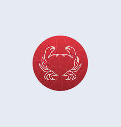 one line crab logo vector image