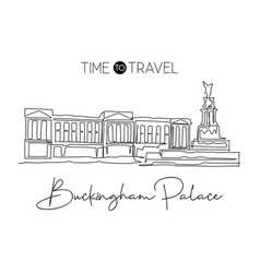 one single line drawing buckingham palace vector image