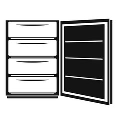 open refrigerator icon simple style vector image