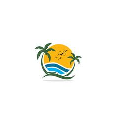 palm tree beach tropic nature logo vector image