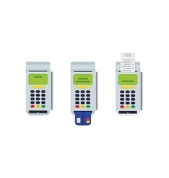 POS terminal with inserted credit card and printed vector image