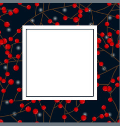 Red berry christmas and white snow on dark blue vector