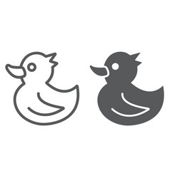 rubber duck line and glyph icon toy and bath vector image
