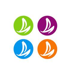 Sail boat yacht ocean color icon logo vector