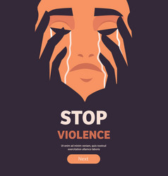 Scared terrified girl crying stop violence vector