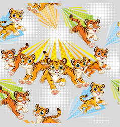 Seamless pattern with cute running tigers gray vector