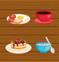Set breakfast food fresh nutrition vector