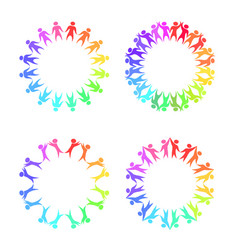 Set of round frames with rainbow people holding vector