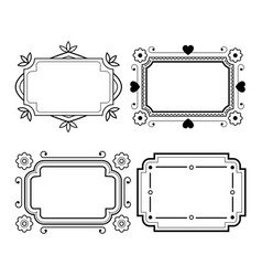 set of vintage grayscale frame in a lineart style vector image